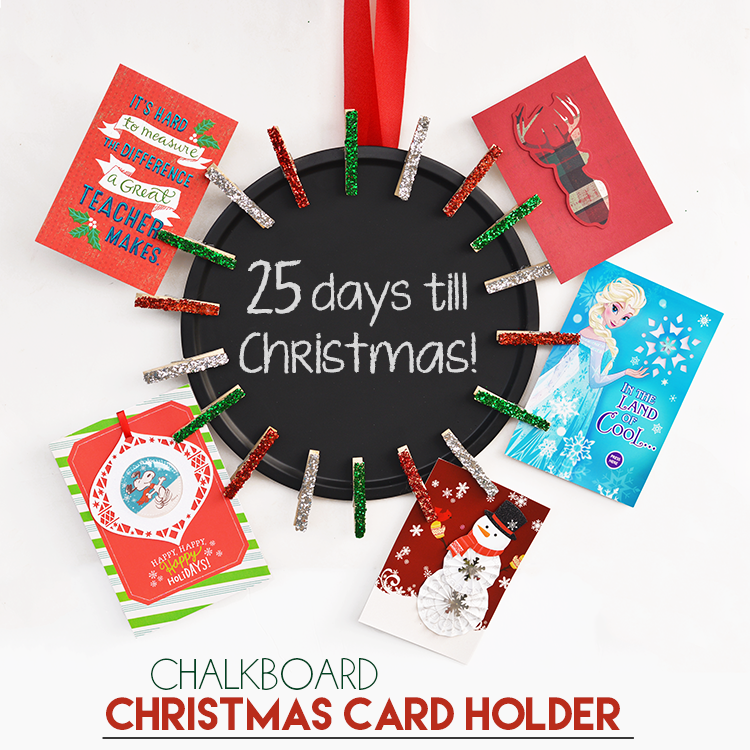 DIY Chalkboard Christmas Card Holder - I Heart Arts n Crafts