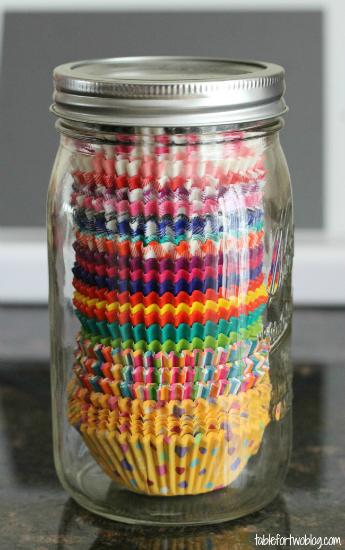 Cupcake Liner Mason Jar Storage
