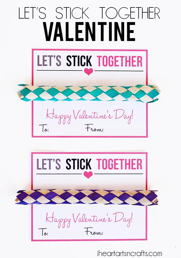 Let's Stick Together Finger Trap Printable Valentine