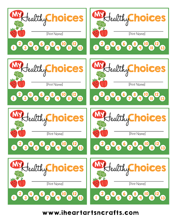 image regarding Printable Punch Card identified as Cost-free My Healthful Possibilities Punch Card Printable + Suggestions For