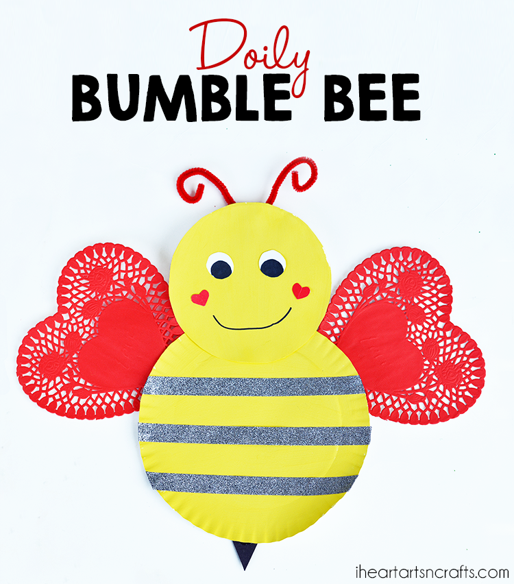 Doily Bumble Bee Valentine's Day Craft