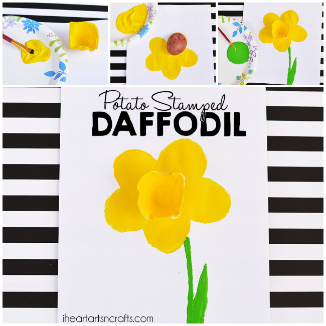 Potato Stamped Daffodil Craft