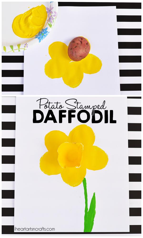 Potato Stamped Daffodil Craft