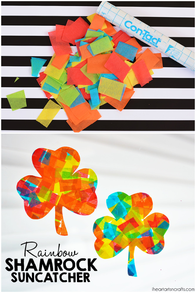 Rainbow Shamrock Suncatcher Craft