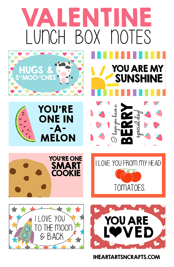 picture about Printable Lunchbox Notes identify Free of charge Printable Valentine Lunch Box Notes - I Middle Arts n Crafts