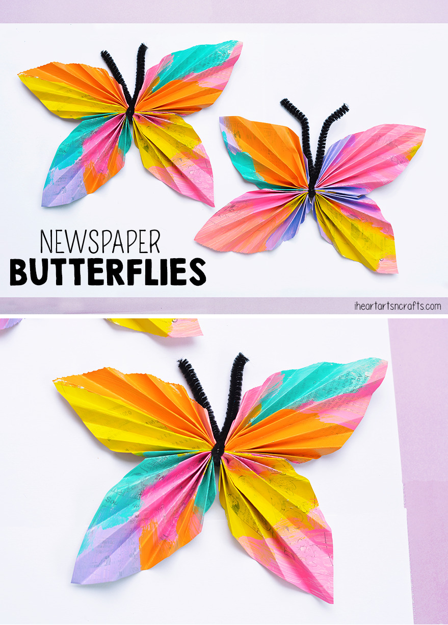 Newspaper Butterfly Kids Craft