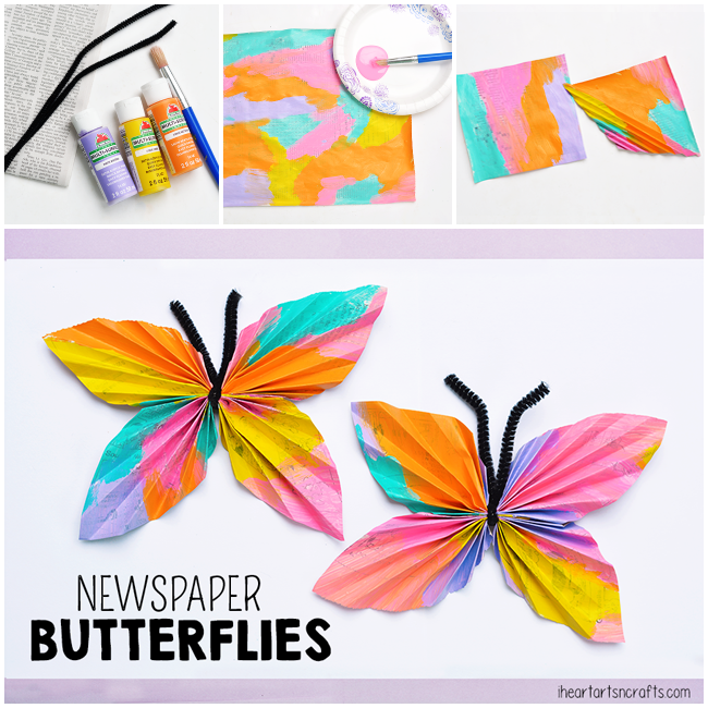 Newspaper Butterfly Kids Craft
