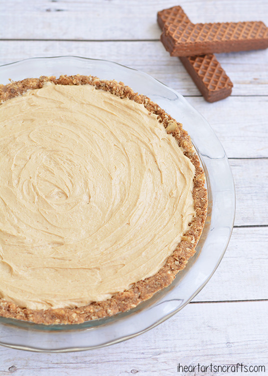 easy no bake peanut butter pie in a homemade Little Debbie Nutty Bars pie crust.