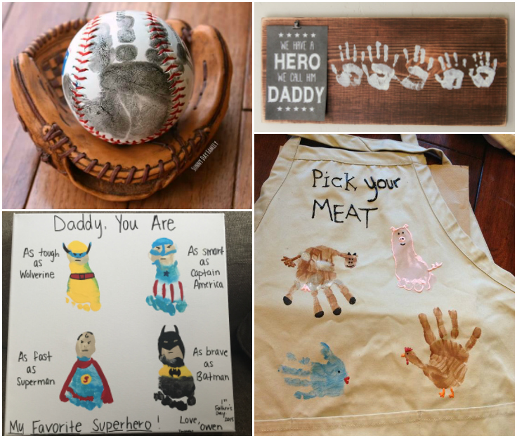 Kids Handprint And Footprint Crafts for Father's Day
