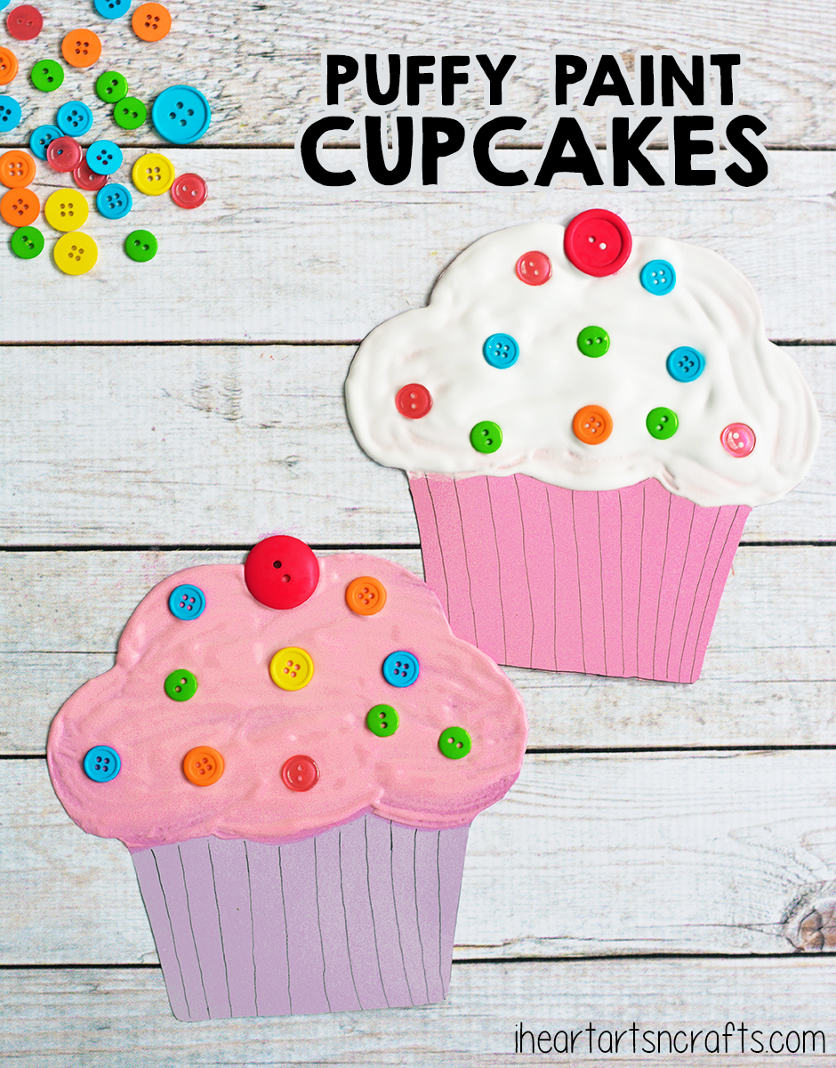 Puffy Paint Cupcake Craft For Kids I Heart Arts N Crafts