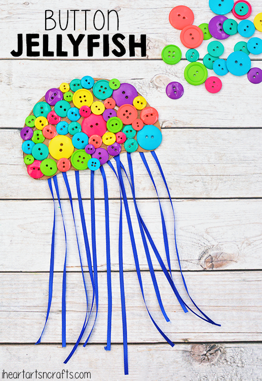 colorful button jellyfish craft for kids i heart arts n