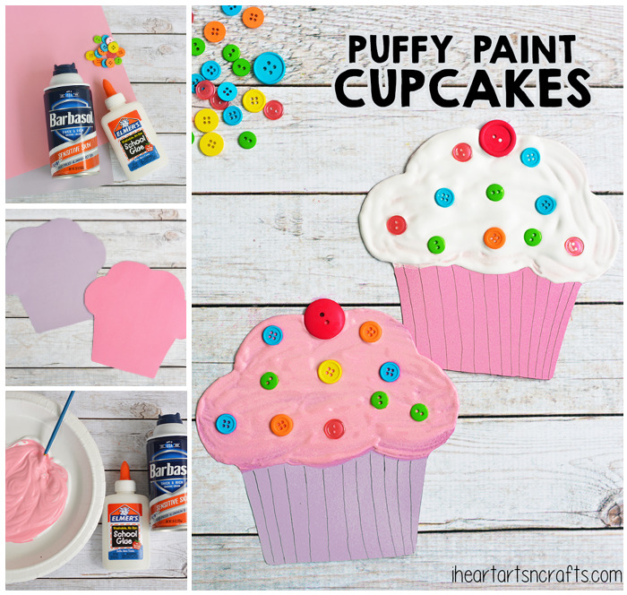Puffy Paint Cupcake Craft For Kids - The perfect craft to pair with the book If You Give A Cat A Cupcake!