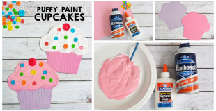 Puffy Paint Cupcake Craft For Kids