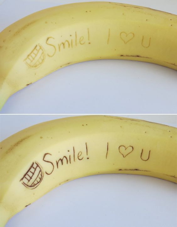 Secret banana message! Use a toothpick to carve the message and as the day goes on it appears!
