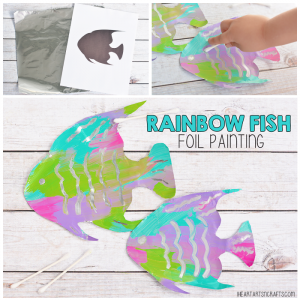 Fine Motor Rainbow Fish Foil Painting Activity