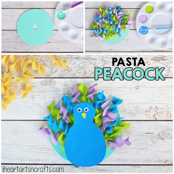 Make a Peacock out of colored pasta!