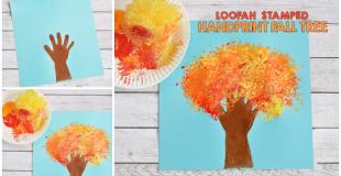 Loofah Stamped Handprint Fall Tree Craft