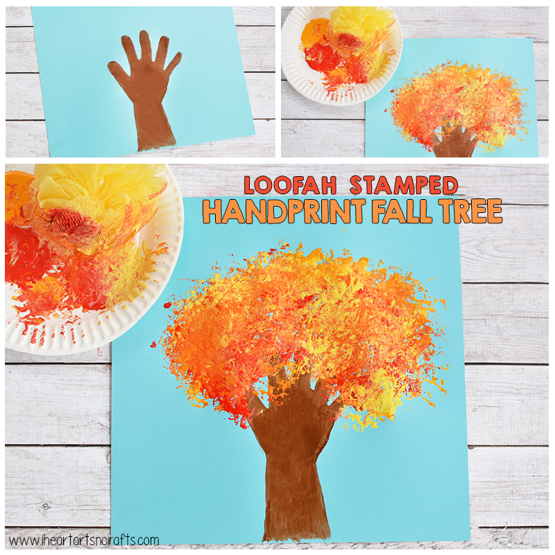 Loofah Stamped Handprint Fall Tree Craft