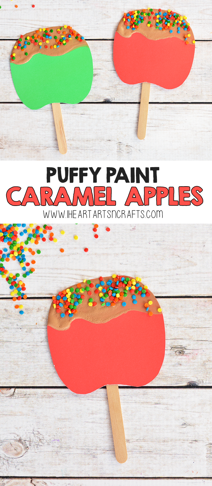 Puffy Paint Caramel Apple Craft For Kids