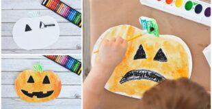 Pumpkin Watercolor Resist Art For Kids
