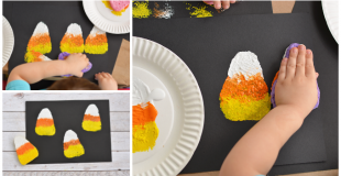 Sponge Painted Candy Corn Activity For Kids