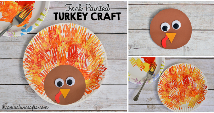Fork Painted Turkey Craft For Kids