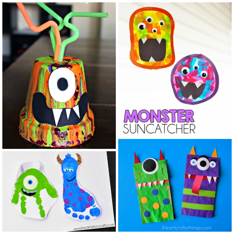 12 not so scary monster crafts for kids i heart arts n for Art n craft for toddlers