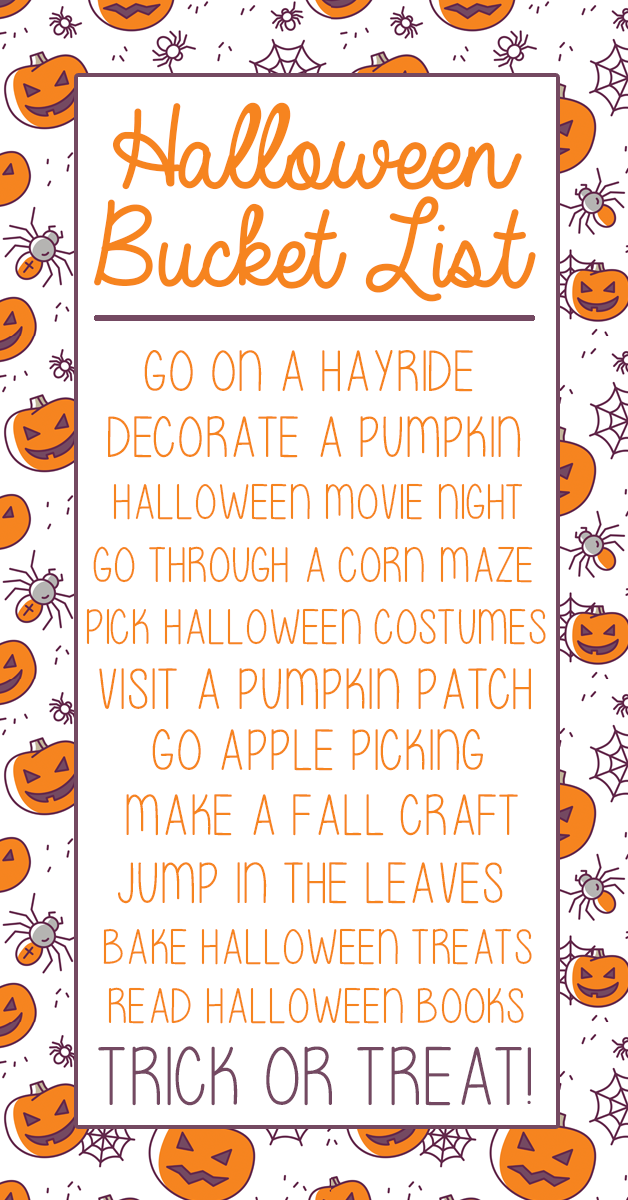 Halloween Bucket List For Kids