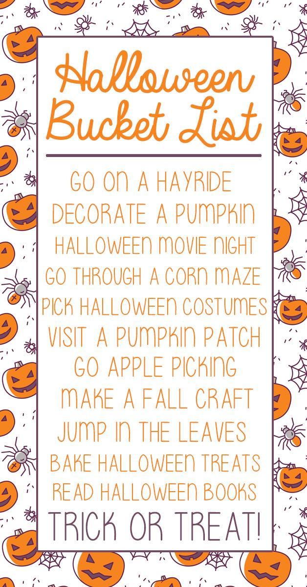 Halloween Bucket List For Kids