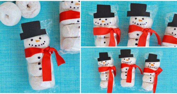 Snowman Donuts Kids Snack Idea