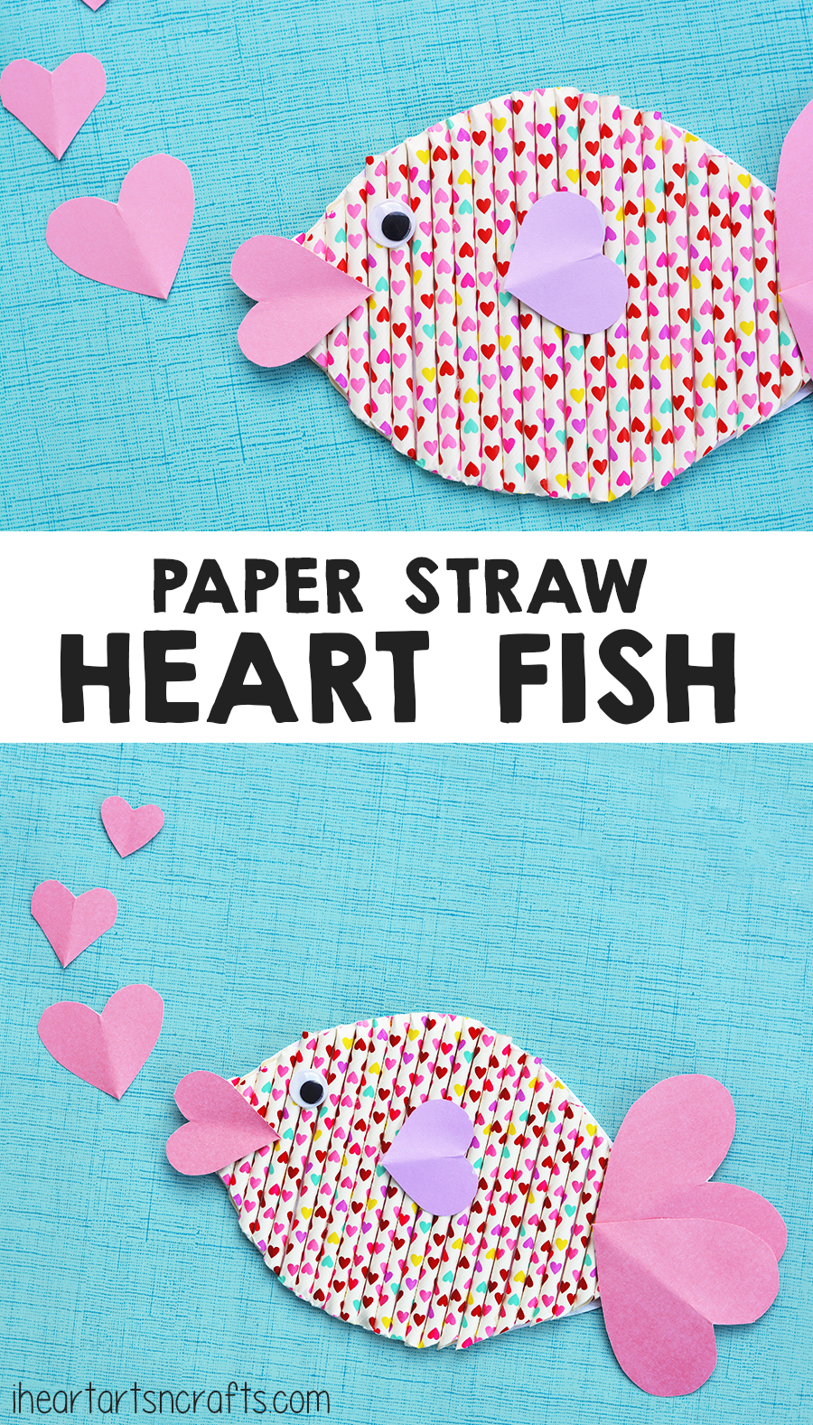 Paper Straw Heart Fish Craft For Kids