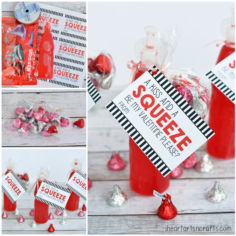 """Kiss and a Squeeze"" Koolaid and Hershey's Kisses Printable Valentine"