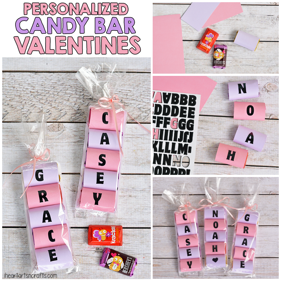 Personalized Candy Bar Valentines I Heart Arts N Crafts