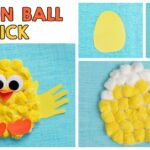 Cotton Ball Handprint Chick Craft For Kids
