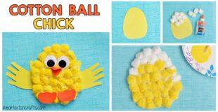 Cotton Ball Handprint Chick Craft For Kids