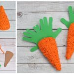 Yarn Wrapped Handprint Carrot Craft For Kids