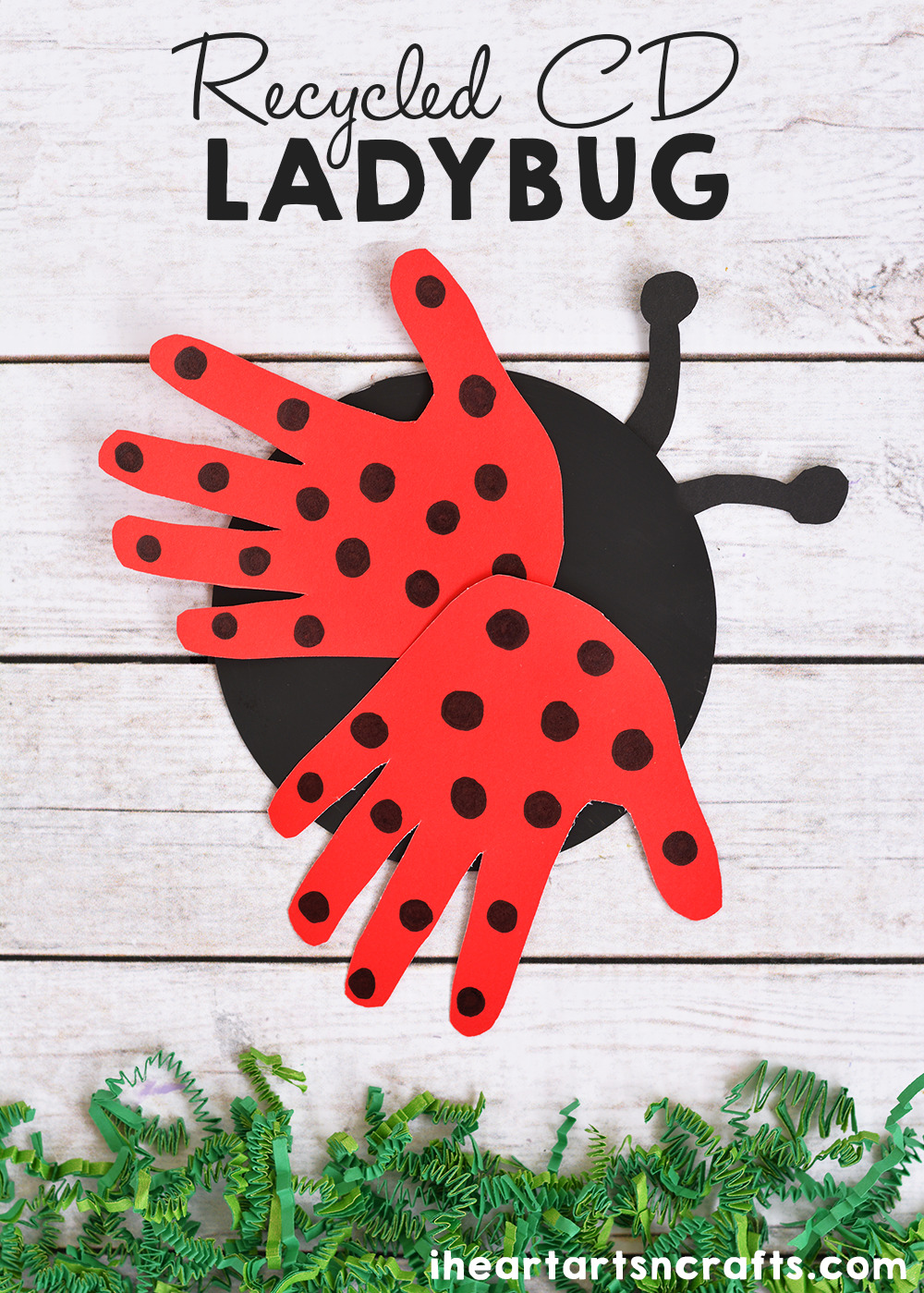 Recycled CD Ladybug Craft For Kids