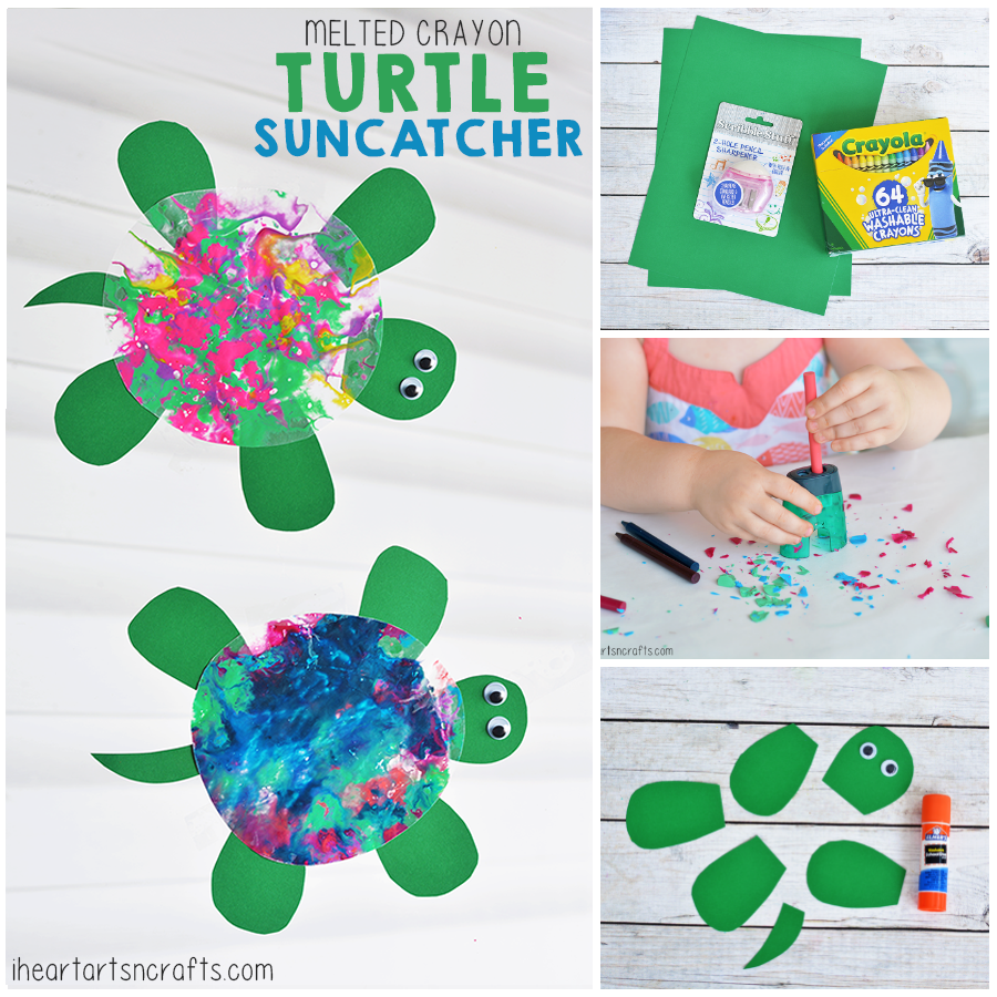 Melted Crayon Turtle Suncatcher Craft For Kids