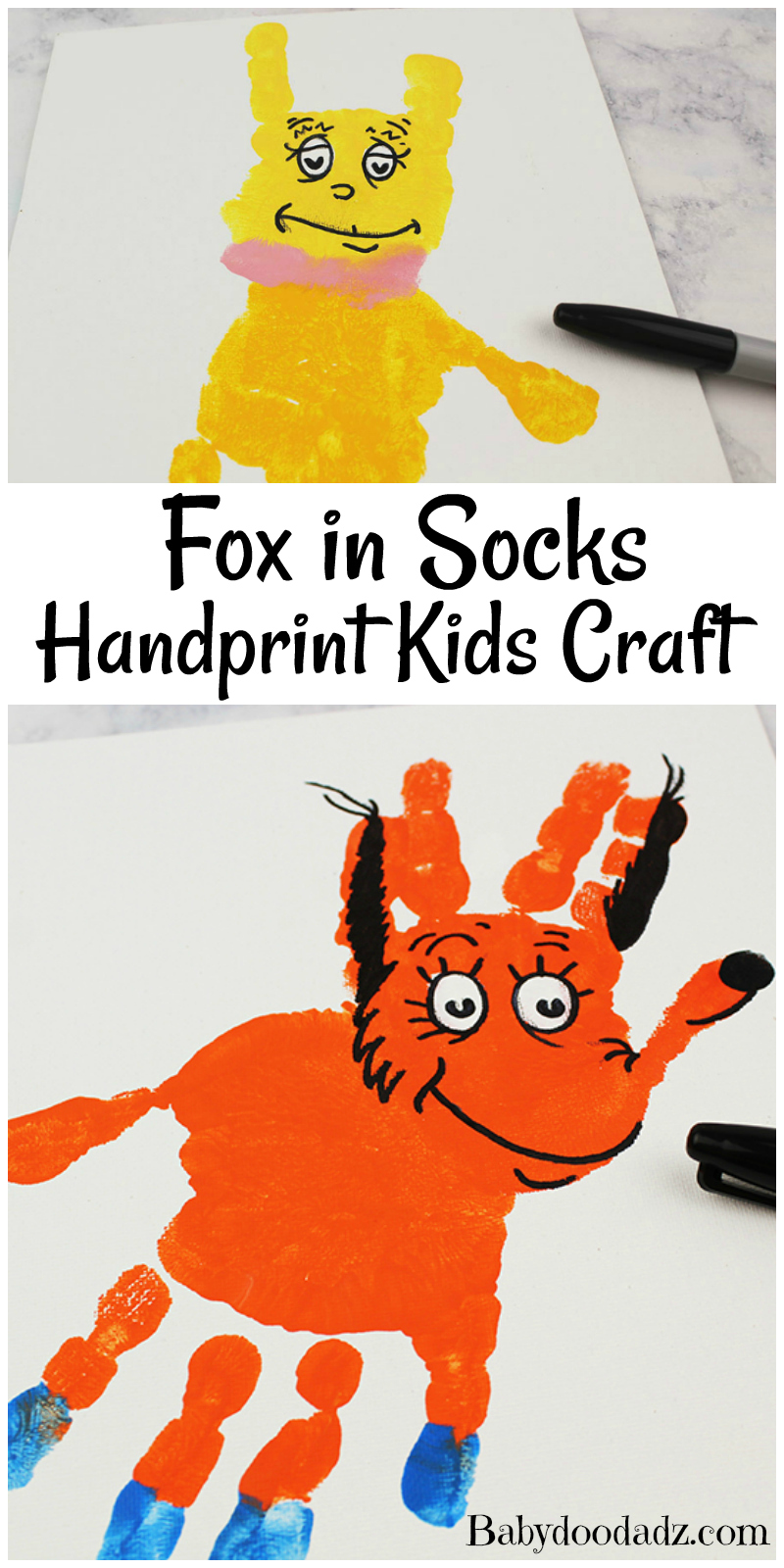 Dr Seuss Handprint Fox in Socks Craft