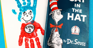 Dr. Seuss Thing 1 and Thing 2 Handprint Craft For Kids