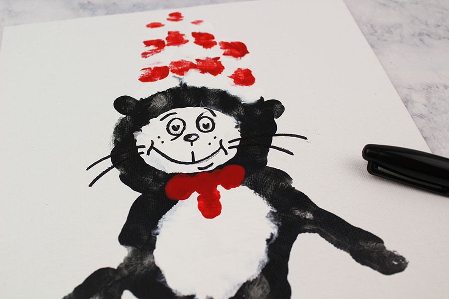 Dr. Seuss Cat In the Hat Handprint Craft For Kids - I Heart Arts n ...