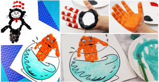 Dr. Seuss Cat In the Hat Handprint Craft For Kids