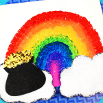 Rainbow Sponge Painting St. Patrick's Day Craft