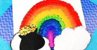 Rainbow Sponge Painting St. Patrick's Day Craft