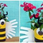 Handprint Bumble Bee Planter Craft For Kids