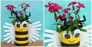 Handprint Bumble Bee Planter Craft For Kids