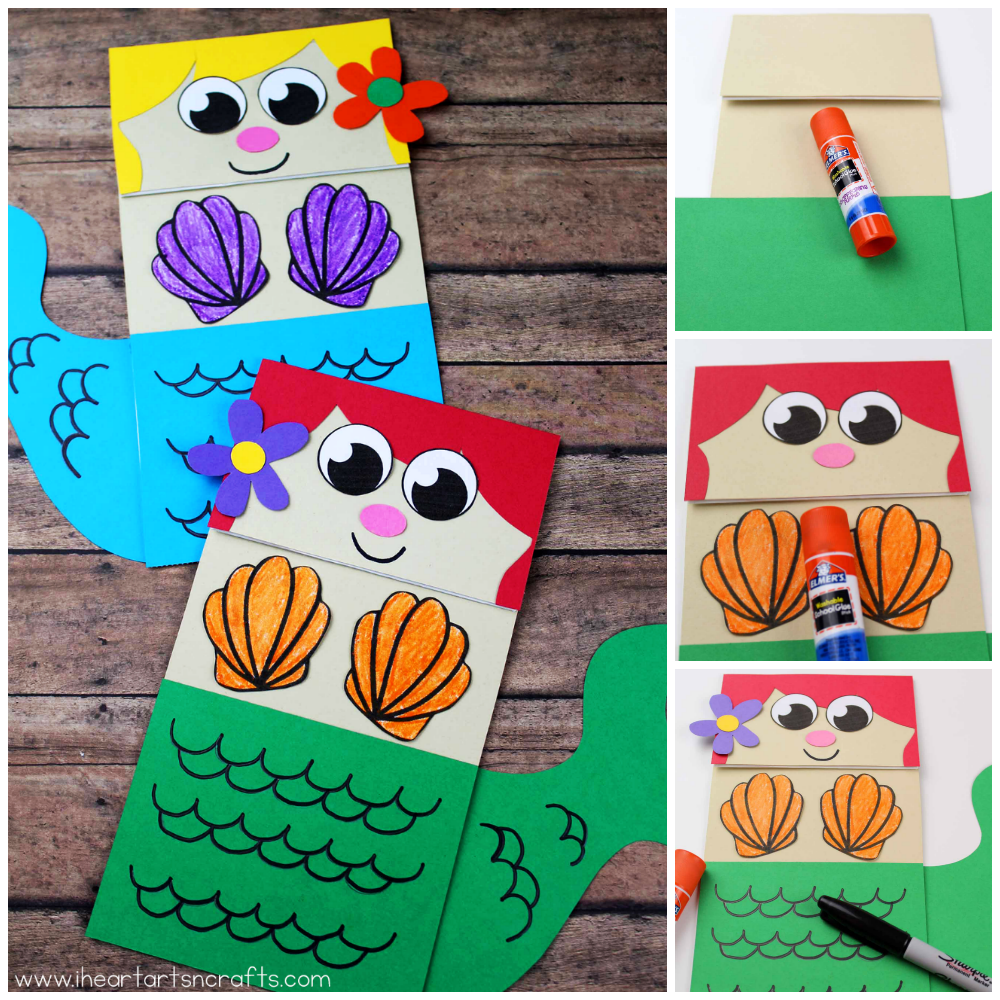 graphic relating to Free Printable Paper Bag Puppet Templates identified as Paper Bag Mermaid Craft For Little ones - I Centre Arts n Crafts