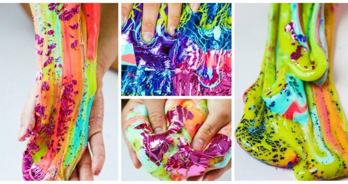 How To Make Rainbow Foil Slime – Lisa Frank Inspired Slime
