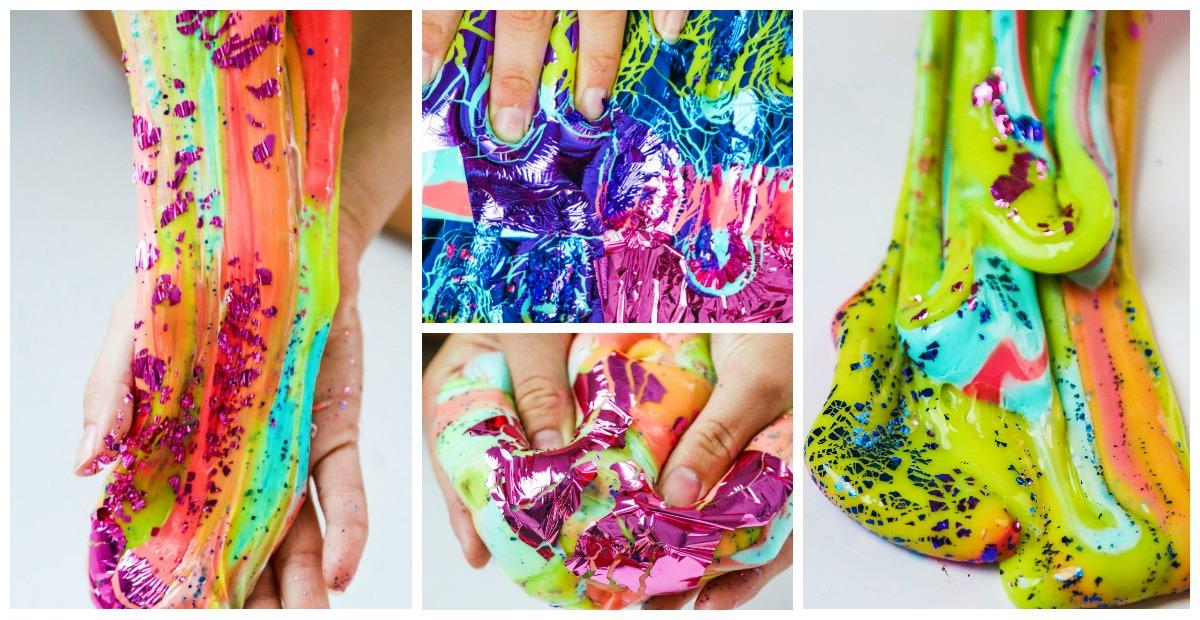 How To Make Rainbow Foil Slime Lisa Frank Inspired Slime