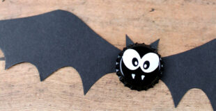 Bat Bottle Cap Magnets Halloween Craft